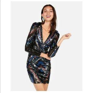 NWT Express Geometric Sequin Long-Sleeve Dress